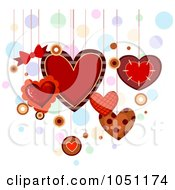 Royalty Free Vector Clip Art Illustration Of Dangling Valentine Hearts Over Colorful Bubbles