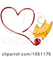 Royalty Free Vector Clip Art Illustration Of An Orange Kitten With A Yarn Heart by BNP Design Studio