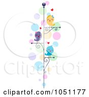 Royalty Free Vector Clip Art Illustration Of Love Birds On Perches Over Colorful Bubbles by BNP Design Studio