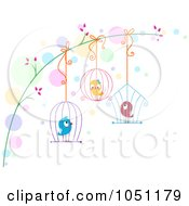 Royalty Free Vector Clip Art Illustration Of Love Birds Hanging In Cages From A Branch by BNP Design Studio