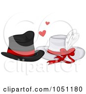 Royalty Free Vector Clip Art Illustration Of His And Hers Hats In Love
