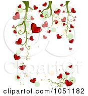 Royalty Free Vector Clip Art Illustration Of A Background Of Blooming Heart Vines Over White 3