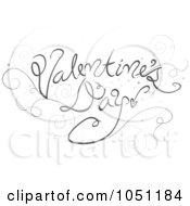 Royalty Free Vector Clip Art Illustration Of Gray Valentines Day Text With Swirls