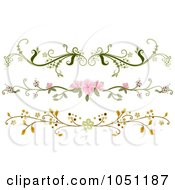 Royalty Free Vector Clip Art Illustration Of A Digital Collage Of Three Ornate Floral Rule Dividers by BNP Design Studio #COLLC1051187-0148