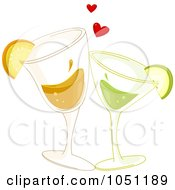 Royalty Free Vector Clip Art Illustration Of Citrus Cocktails Toasting Under Hearts by BNP Design Studio