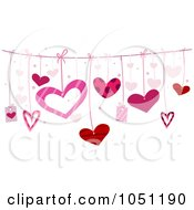 Royalty Free Vector Clip Art Illustration Of Valentines And Hearts Hanging From A Clothesline
