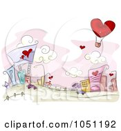 Royalty Free Vector Clip Art Illustration Of An Urban Valentine Village Scene