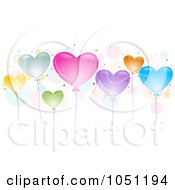 Royalty Free Vector Clip Art Illustration Of Colorful Shiny Heart Balloons And Bubbles