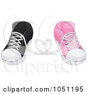 Royalty Free Vector Clip Art Illustration Of His And Hers Sneakers In Love by BNP Design Studio