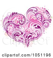 Royalty Free Vector Clip Art Illustration Of A Purple And Pink Vine Heart by BNP Design Studio