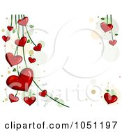 Royalty Free Vector Clip Art Illustration Of A Background Of Blooming Heart Vines Over White 1