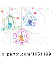 Royalty Free Vector Clip Art Illustration Of Hanging Cages With Love Birds