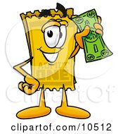 Yellow Admission Ticket Mascot Cartoon Character Holding A Dollar Bill