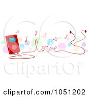 Royalty Free Vector Clip Art Illustration Of An Mp3 Player Playing Love Songs by BNP Design Studio