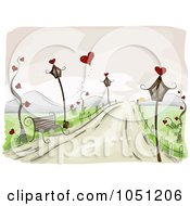Royalty Free Vector Clip Art Illustration Of A Romantic Scene Of A Bench And Lamp Posts On A Roadside