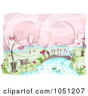 Royalty Free Vector Clip Art Illustration Of A Romantic Scene Of A Bench By A River