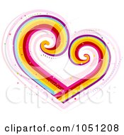 Royalty Free Vector Clip Art Illustration Of A Rainbow Heart With Swirls by BNP Design Studio