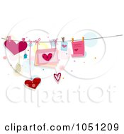 Royalty Free Vector Clip Art Illustration Of Hearts Letters And Cards Tied On Strings by BNP Design Studio