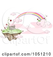 Royalty Free Vector Clip Art Illustration Of A Bench On A Floating Island With Hearts And A Rainbow