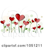 Royalty Free Vector Clip Art Illustration Of A Background Of Blooming Heart Vines Over White 4