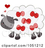 Royalty Free Vector Clip Art Illustration Of A Sheep Wearing Red Ribbons
