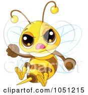 Royalty Free Vector Clip Art Illustration Of A Mad Bee Waving A Fist by Pushkin