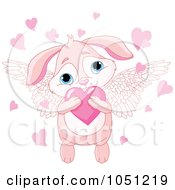 Royalty Free Vector Clip Art Illustration Of A Cute Winged Pink Valentine Bunny Hugging A Heart
