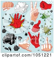Royalty Free Vector Clip Art Illustration Of A Digital Collage Of Comic Hands And Design Elements On Blue by Pushkin