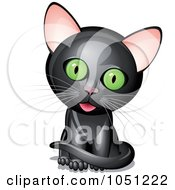 Royalty Free Vector Clip Art Illustration Of A Cute Black Kitten With A Cocked Head