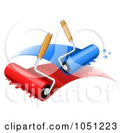Paint Rollers With Blue And Red Paint