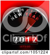 Royalty Free Vector Clip Art Illustration Of A 3d 2012 Counter On A Red And Black Dashboard