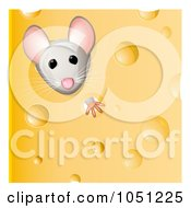 Royalty Free Vector Clip Art Illustration Of A Cute Mouse Peeking Through Holy Cheese