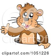Royalty Free Vector Clip Art Illustration Of A Happy Groundhog Popping Out Of His Hole by visekart