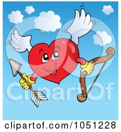 Royalty Free Vector Clip Art Illustration Of A Heart Cupid Holding A Bow And Arrow In The Sky by visekart