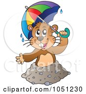 Royalty Free Vector Clip Art Illustration Of A Happy Groundhog Holding An Umbrella Above His Hole