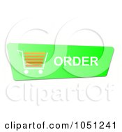 Royalty Free RF Clip Art Illustration Of A Green And Orange Order Shopping Cart Button