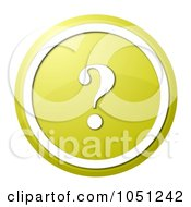 Royalty Free RF Clip Art Illustration Of A Round Yellow And White Question Mark Icon Button by oboy