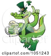Royalty Free Vector Clip Art Illustration Of A St Paddys Day Crocodile Drinking Beer by Zooco