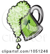 Royalty Free Vector Clip Art Illustration Of A Pint Of Spilling Green St Patricks Day Beer by Zooco