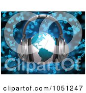 Royalty Free 3d Clip Art Illustration Of A 3d Rendered Blue World Globe With Headphones Over Blue Music Notes