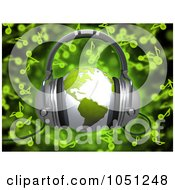 Royalty Free 3d Clip Art Illustration Of A 3d Rendered Green World Globe With Headphones Over Green Music Notes