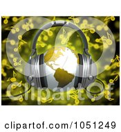 Royalty Free 3d Clip Art Illustration Of A 3d Rendered Yellow World Globe With Headphones Over Yellow Music Notes