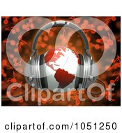 Royalty Free 3d Clip Art Illustration Of A 3d Rendered Red World Globe With Headphones Over Red Music Notes