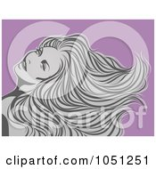 Sexy Gray Woman With Long Hair Over Purple