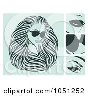 Royalty Free Vector Clip Art Illustration Of A Digital Collage Of Blue Hair And Beauty Icons