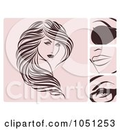 Royalty Free Vector Clip Art Illustration Of A Digital Collage Of Brown And Pink Hair And Beauty Icons