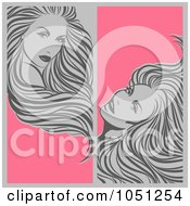 Royalty-Free Vector Clip Art Illustration of a Digital Collage Of Vertical Gray And Pink Beauty Hair Banners by elena #COLLC1051254-0147
