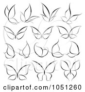 Royalty Free Vector Clip Art Illustration Of A Digital Collage Of Black And White Butterfly Logos