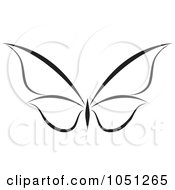 Royalty Free Vector Clip Art Illustration Of A Black And White Butterfly Logo 6