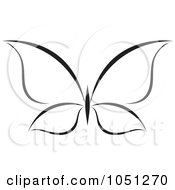 Royalty Free Vector Clip Art Illustration Of A Black And White Butterfly Logo 13 by elena #COLLC1051270-0147